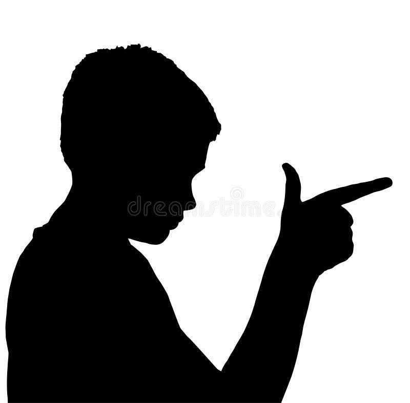 男孩儿童手指查出的姿态枪 皇族释放例证