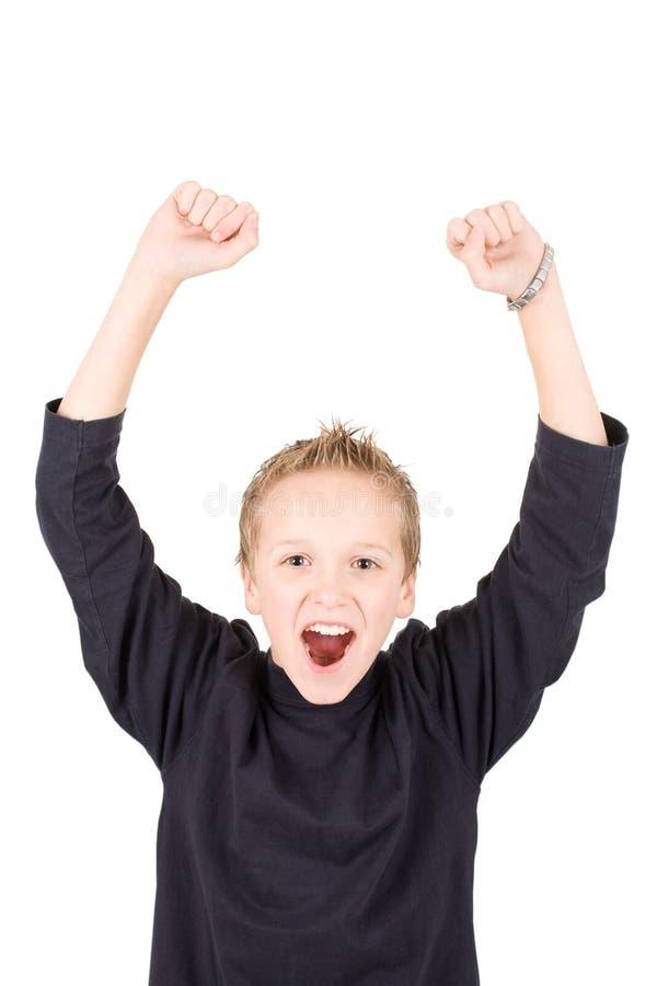 男孩兴奋纵向年轻人 免版税库存照片