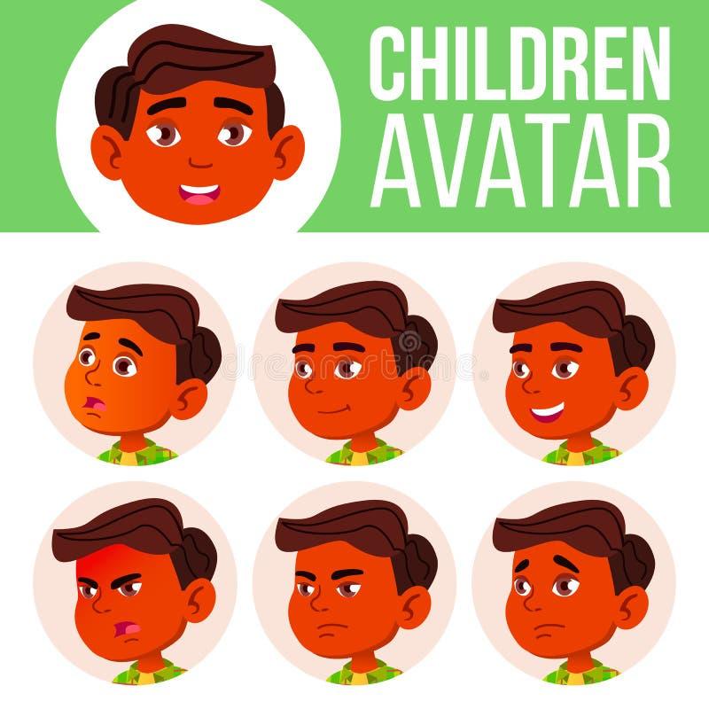 男孩具体化集合孩子传染媒介 印地安人,印度 亚洲 男孩了解主要读的学校教师 面对情感 孩子 秀丽,生活方式 明信片 向量例证