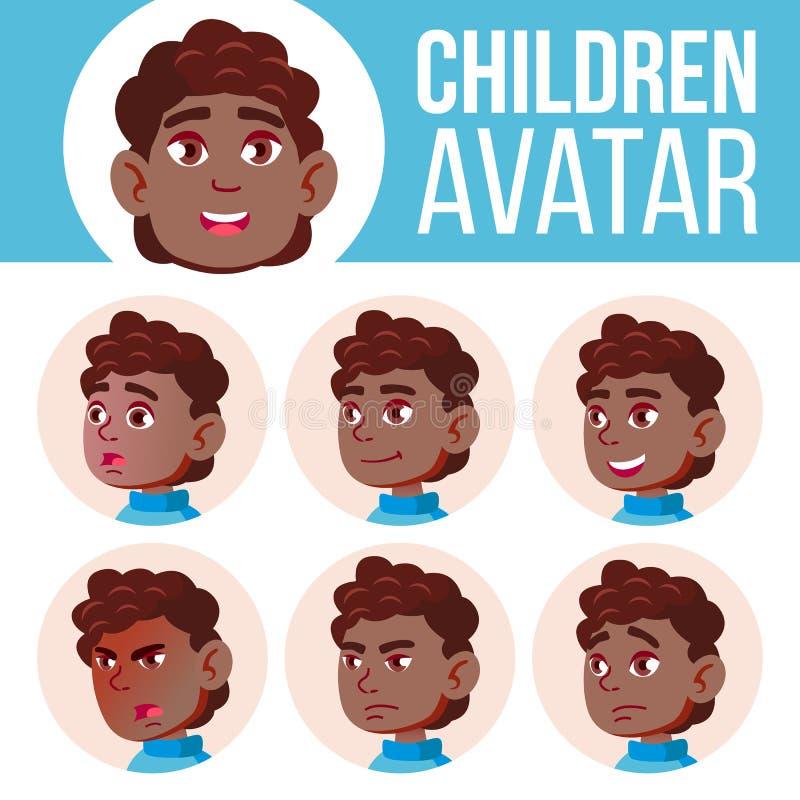 男孩具体化集合孩子传染媒介 投反对票 美国黑人 高中 面对情感 学校学生 小家伙,诞生 动画片愉快的顶头例证人 皇族释放例证