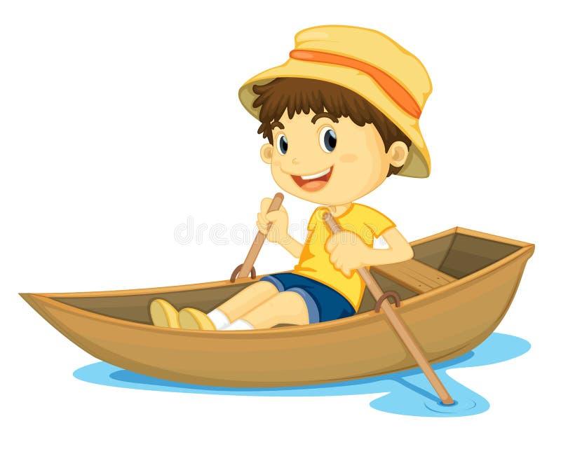 男孩划船 向量例证