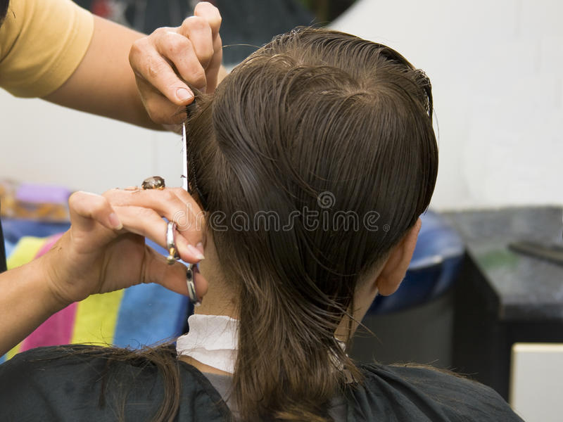 男孩剪切头发 免版税库存照片