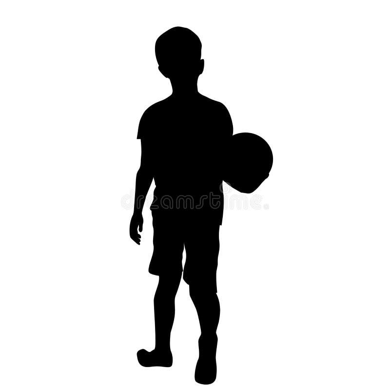 男孩剪影有球的 皇族释放例证