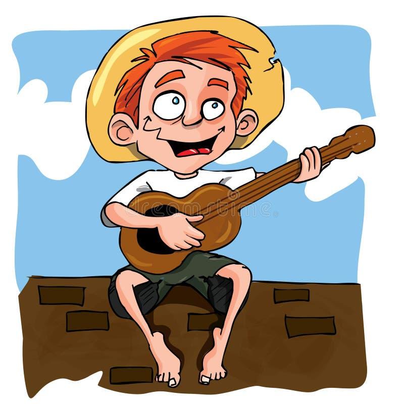 男孩动画片吉他使用的一点 皇族释放例证
