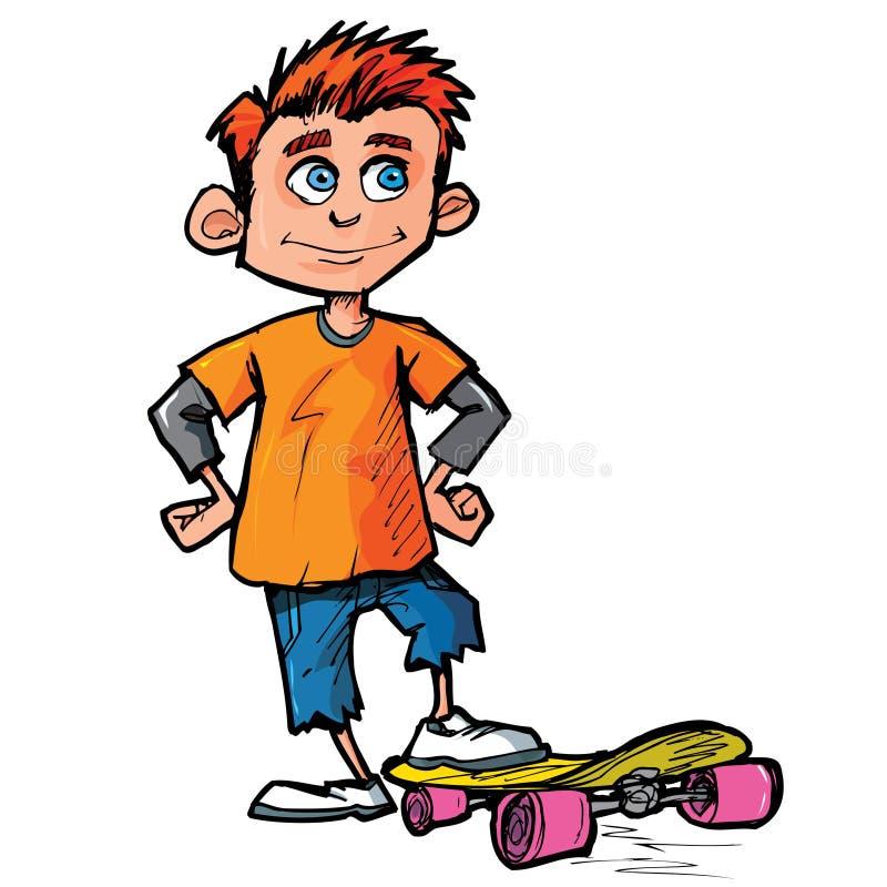 男孩动画片溜冰者 向量例证