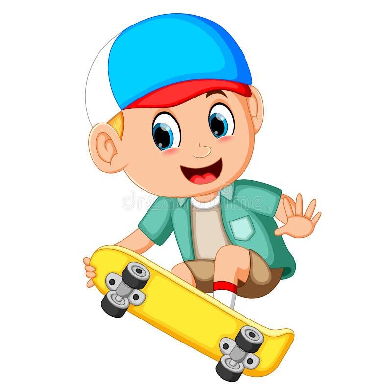 男孩动画片滑板和微笑的 库存例证