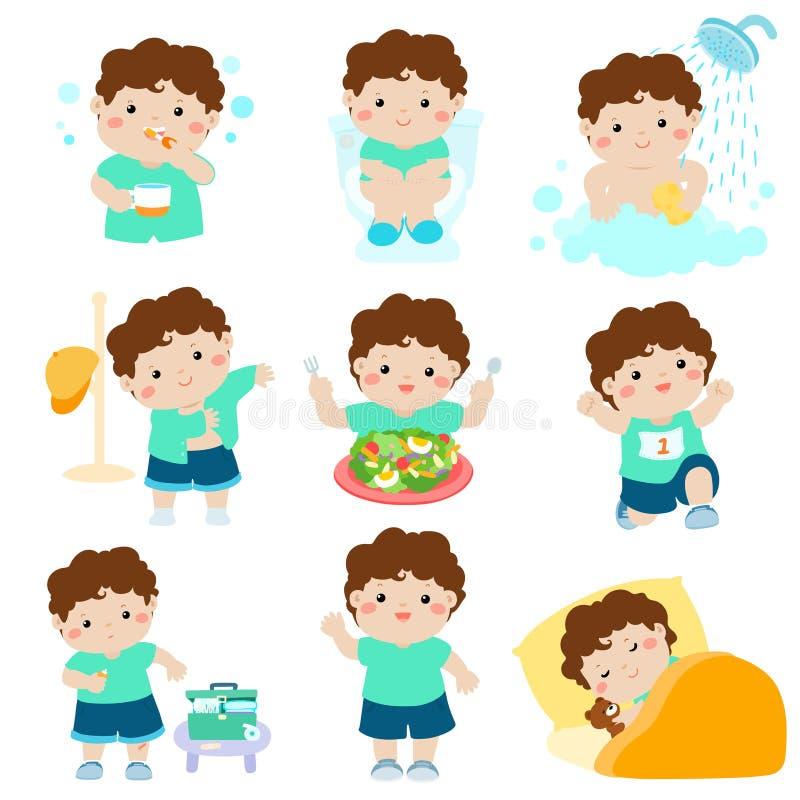 男孩动画片的健康卫生学 库存例证