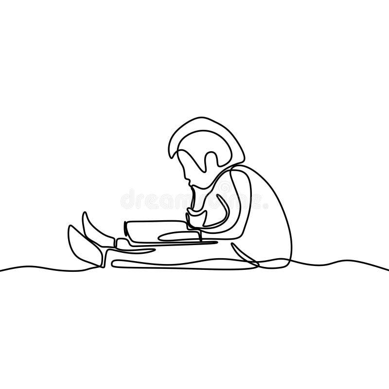男孩努力学习看书一实线图画 皇族释放例证