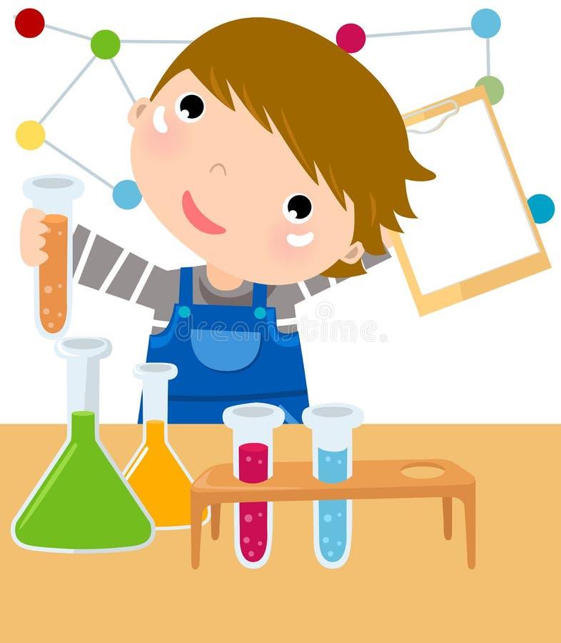 男孩化学制品实验室混合 皇族释放例证