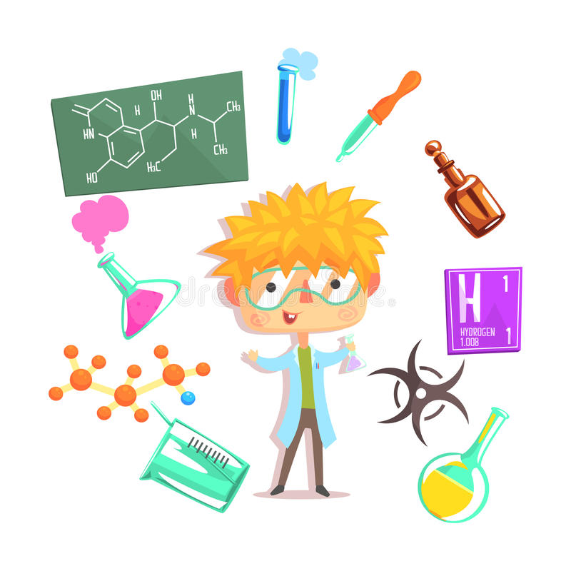 男孩化学家,与相关的孩子未来梦想专业职业例证对行业对象 皇族释放例证