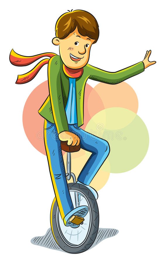 男孩单轮脚踏车 向量例证