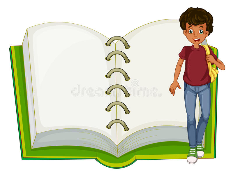 男孩和一个空的笔记本 皇族释放例证