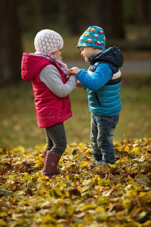 男孩和使用在公园的女孩 免版税库存图片