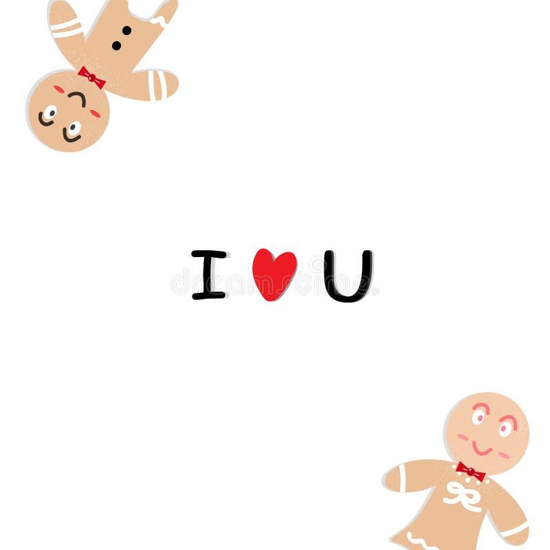 男孩和女孩与一点心脏confett的曲奇饼卡通人物 向量例证