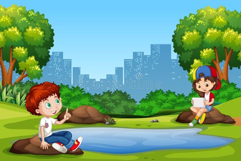 男孩和女孩公园的 向量例证