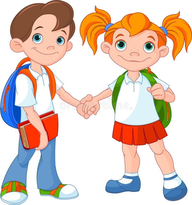 男孩和女孩准备好对学校 皇族释放例证