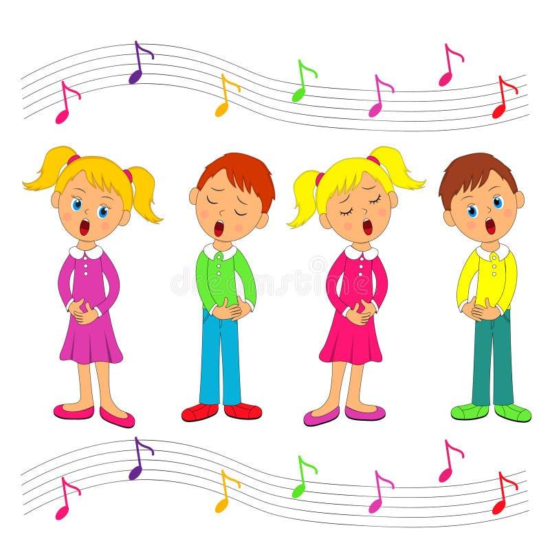 男孩和女孩唱歌 皇族释放例证
