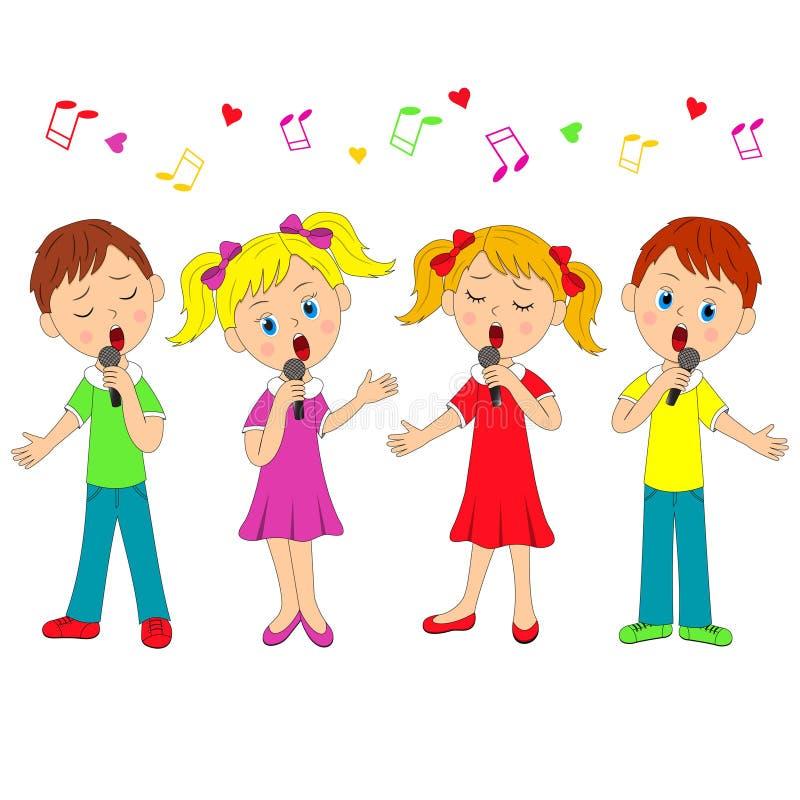 男孩和女孩唱歌 向量例证