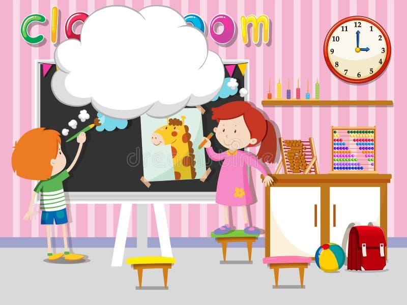 男孩和女孩图画和paintin在教室 皇族释放例证