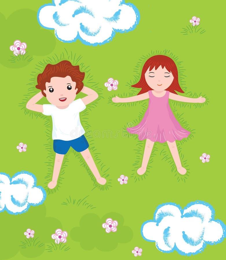 男孩和女孩在一个绿色草甸放松 皇族释放例证