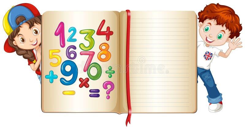 男孩和女孩在算术书后 库存例证