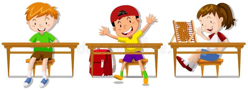 男孩和女孩坐他们的书桌 皇族释放例证