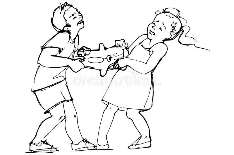 男孩和女孩孩子剪影战斗在玩具 向量例证