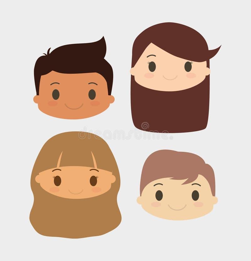 男孩和女孩孩子动画片设计 皇族释放例证
