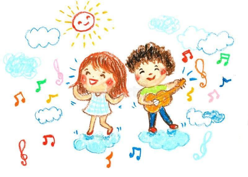 男孩和女孩愉快在音乐,上油蜡笔画例证 向量例证