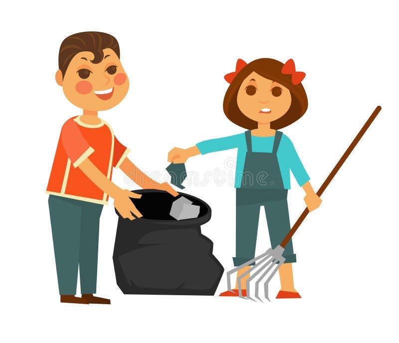 男孩和女孩拿走垃圾被隔绝的例证 库存例证