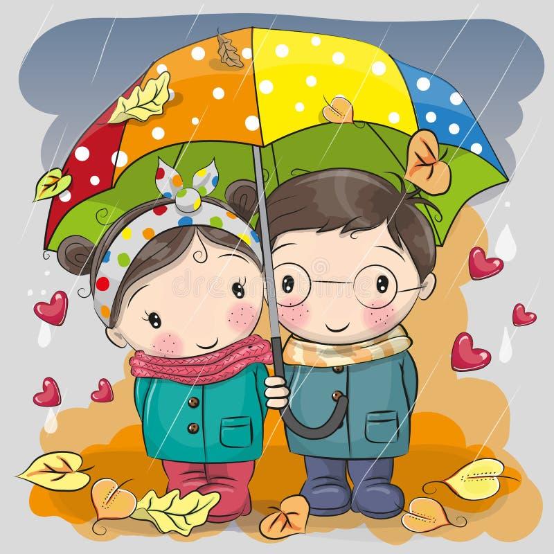 男孩和女孩有伞的在雨下 向量例证