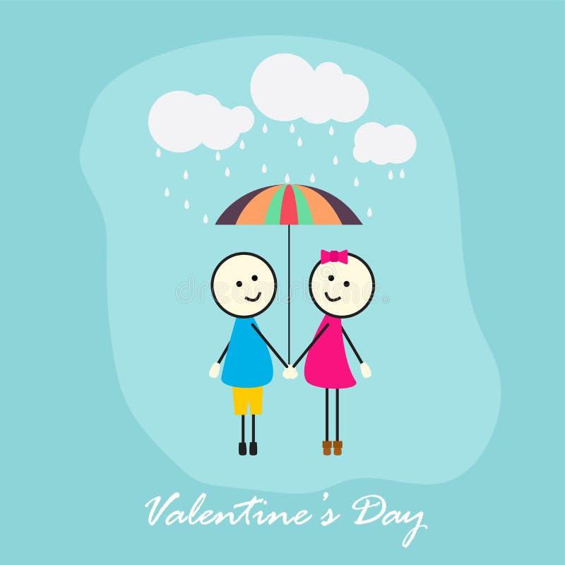 男孩和女孩有伞的在雨中 免版税库存图片