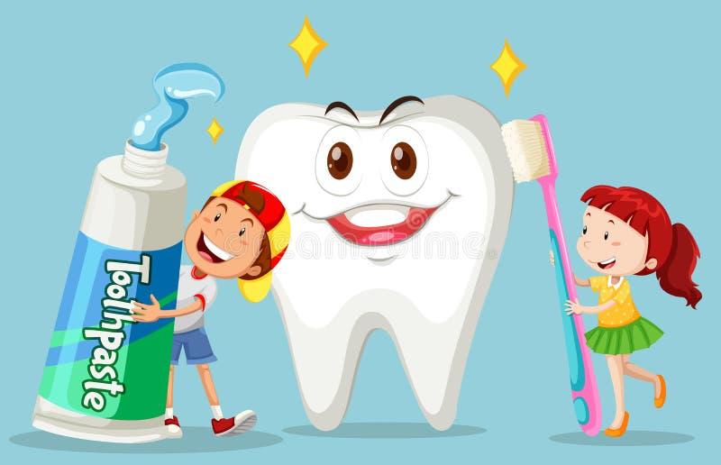 男孩和女孩有干净的牙的 向量例证