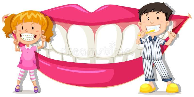 男孩和女孩有干净的牙的 库存例证