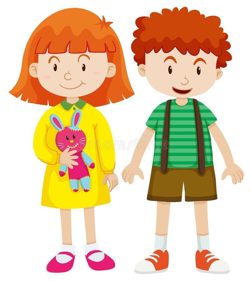 男孩和女孩有愉快的面孔的 向量例证