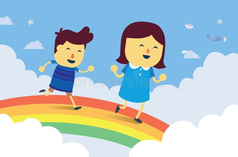 男孩和女孩演奏追逐在彩虹桥梁 皇族释放例证