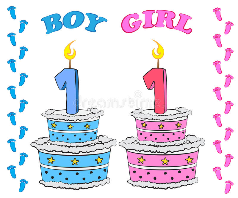 男孩和女孩的第一生日蛋糕 向量例证