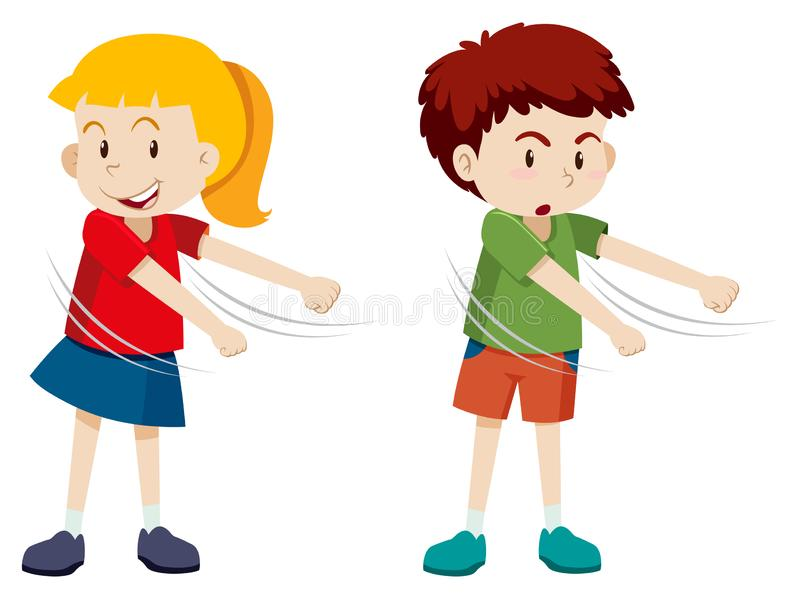 男孩和女孩绣花丝绒舞蹈 库存例证