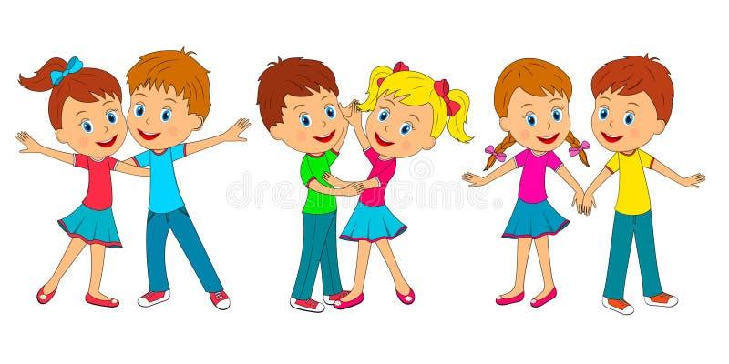 男孩和女孩舞蹈 向量例证