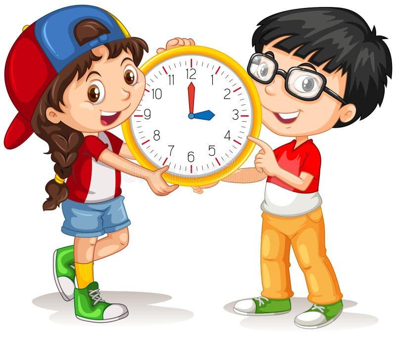男孩和女孩藏品时钟 库存例证
