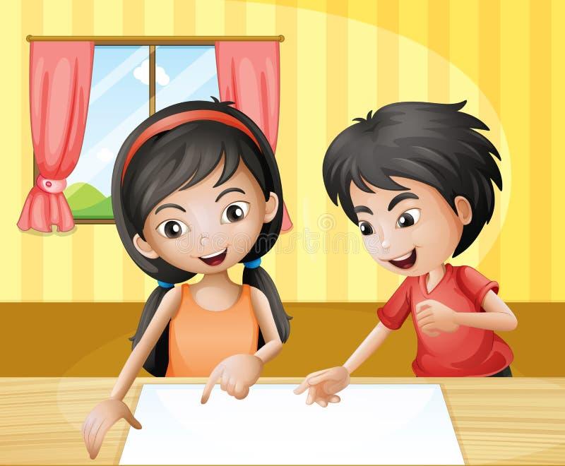 男孩和女孩谈论与空的标志在桌上 向量例证