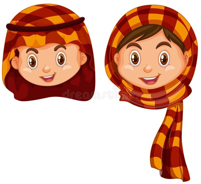 男孩和女孩阿拉伯服装的 皇族释放例证