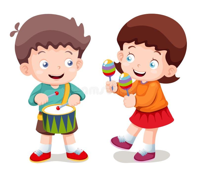 男孩和女孩音乐 库存例证