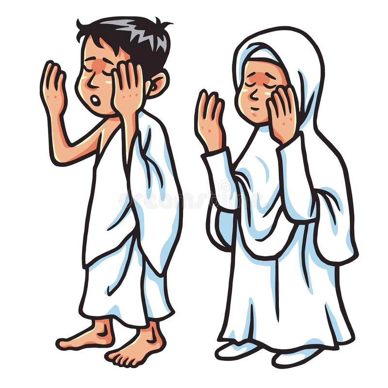 男孩和女孩麦加朝圣祈祷的传染媒介例证 库存例证