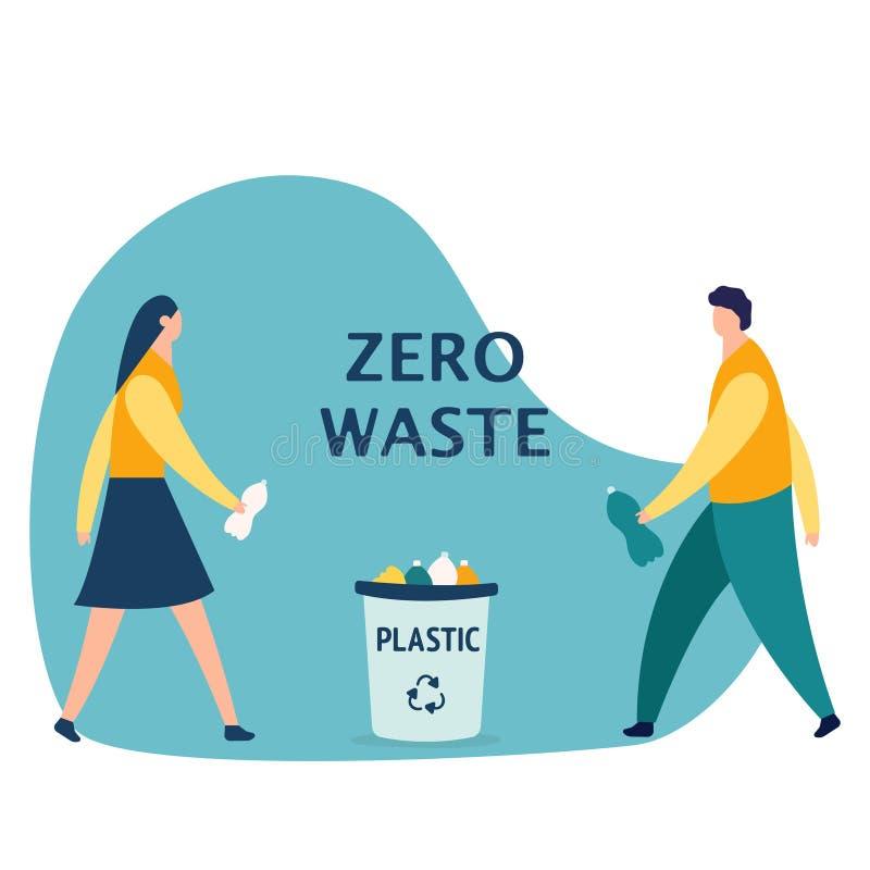 男孩和女孩,投掷在垃圾,回收概念,动画片传染媒介例证的垃圾的塑料瓶隔绝在白色 皇族释放例证