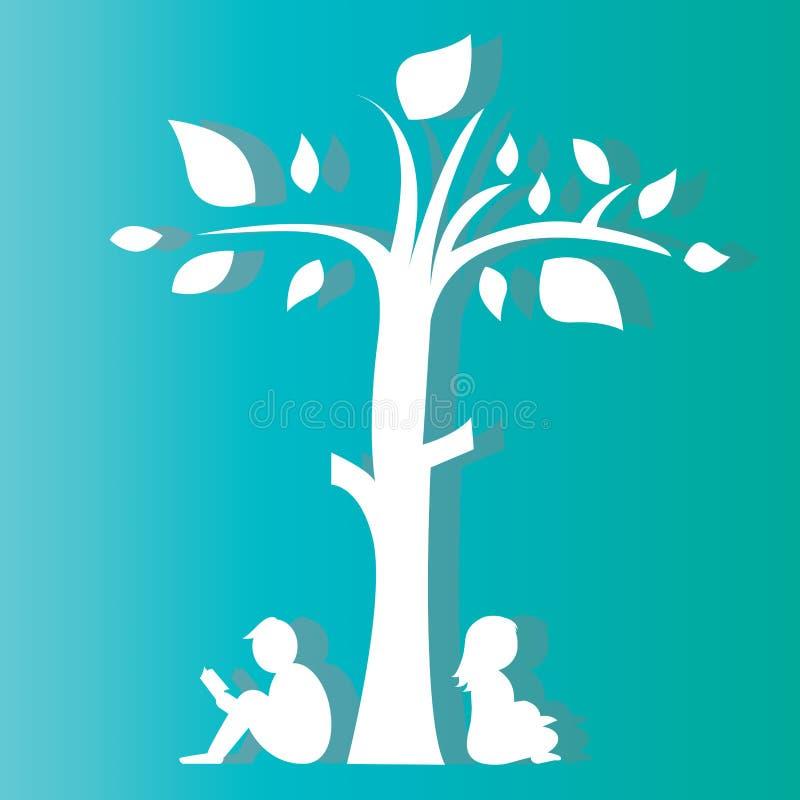 男孩和女孩读书在树下 皇族释放例证