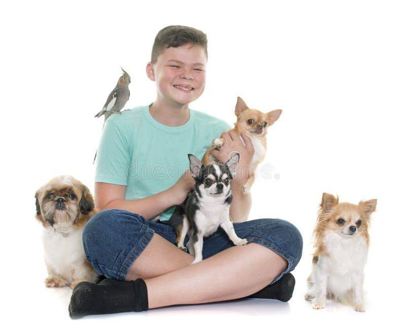 男孩和宠物 免版税库存照片