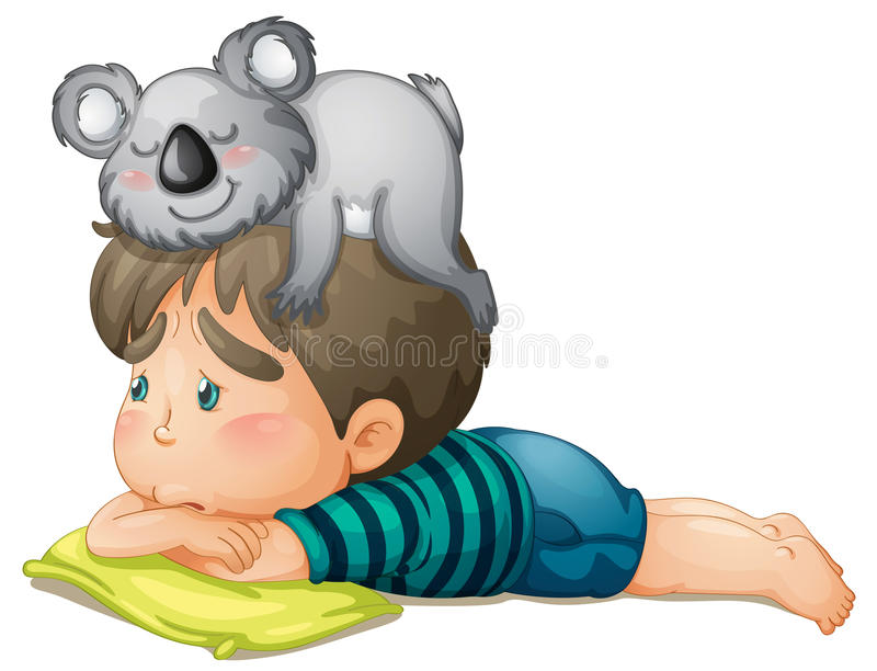 男孩和熊 向量例证