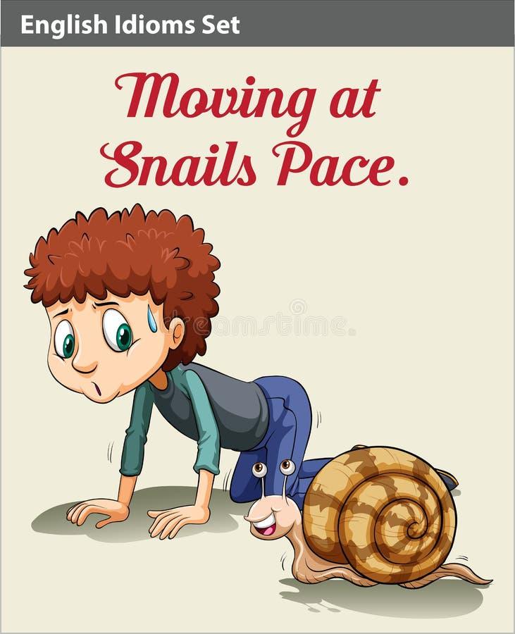 男孩和蜗牛 向量例证