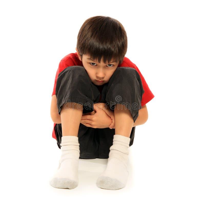 男孩哀伤的年轻人 免版税库存图片